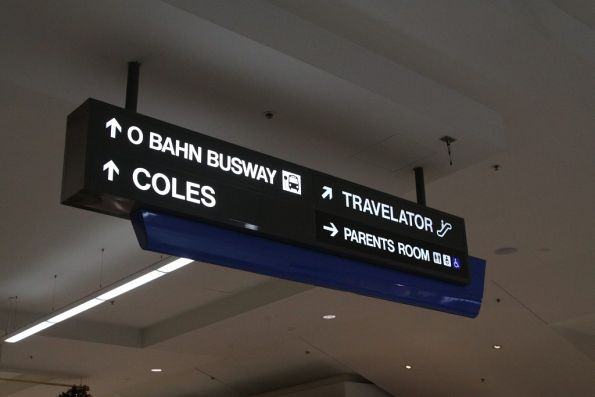Sign pointing towards the O-Bahn Busway inside the  at Tea Tree Plaza shopping centre