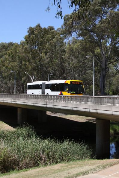 Articulated bus crosses the Torrens River outside Paradise Interchange