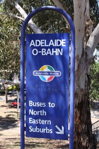 Adelaide Metro sign at Klemzig O-Bahn Station, referencing the former Passenger Transport Board