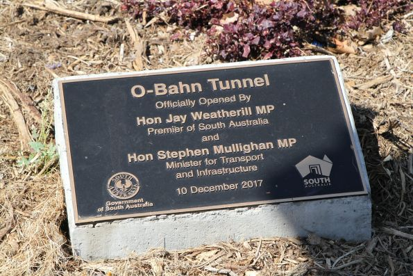 Plaque marking the opening of the O-Bahn city access tunnel on 10 December 2017