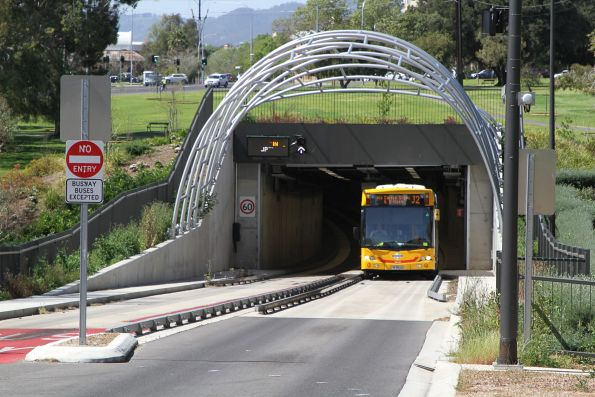#1165 on route J2 exits the O-Bahn tunnel at Grenfell Street