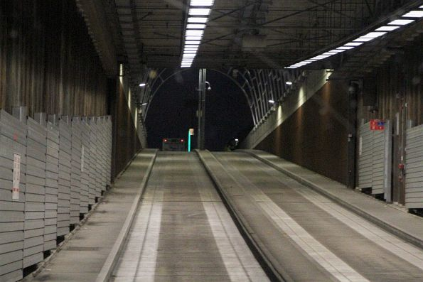 Headed out of the O-Bahn tunnel at the Hackney Road portal