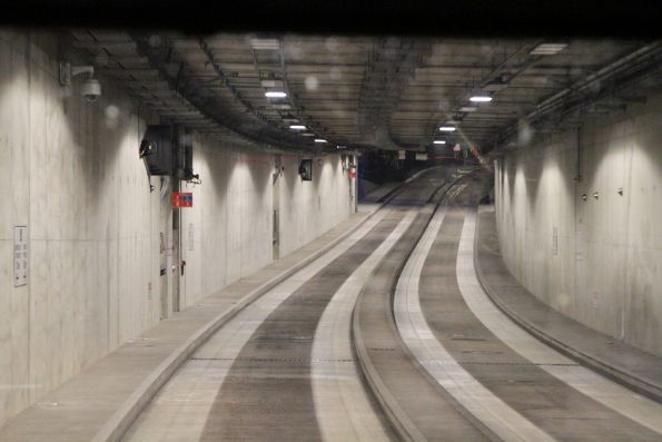 Climbing out of the O-Bahn tunnel towards the Grenfell Street portal