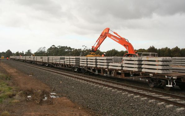 Loading concrete sleepers at Inverleigh, for the rebuilding of the Belair line in Adelaide