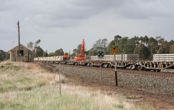 Looking past the derelict station building at Inverleigh