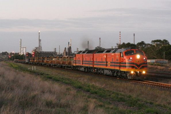 CLP14 and CLP17 head westbound at Corio with rail for the Belair line in Adelaide