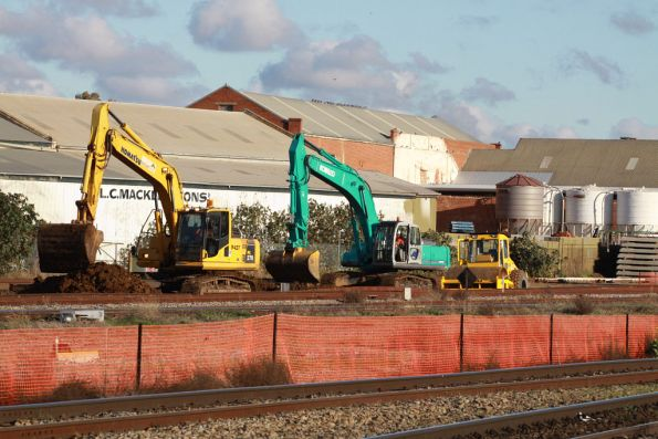 Digging up the broad gauge suburban tracks at Dry Creek