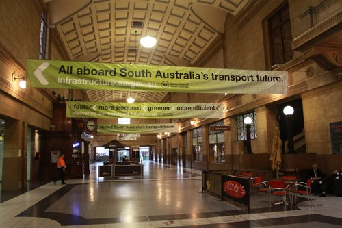 SA Government banners at Adelaide station spruiking their transport investments