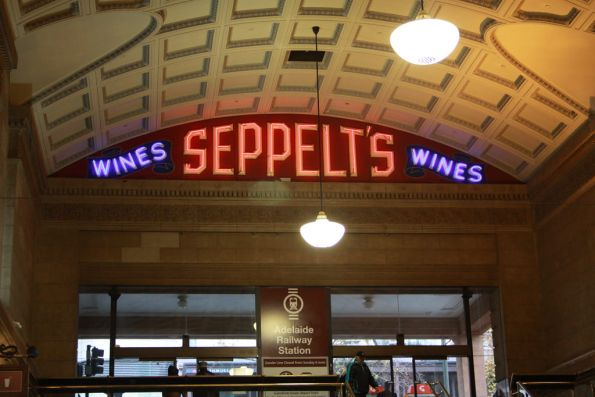 Illuminated Seppelt's Wines sign above the Adelaide station concourse