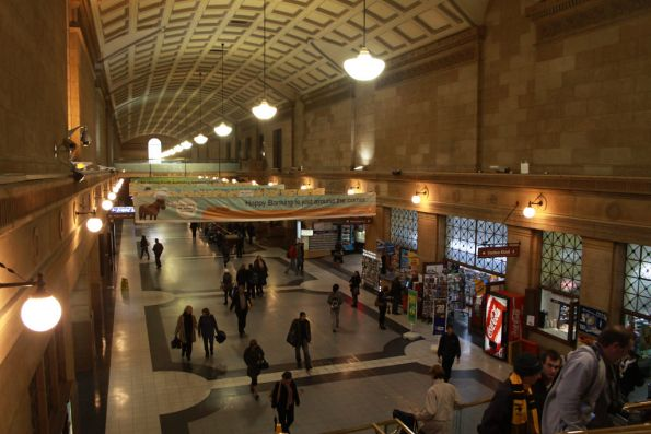 Looking over the Adelaide station concourse