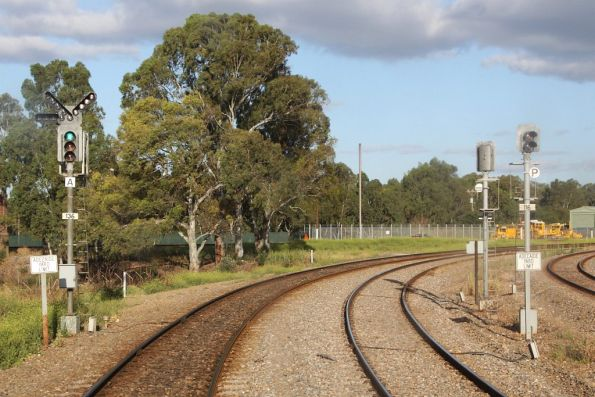 Absolute signals 136 and 116 for up trains on the South Suburban lines at the Adelaide Yard limits