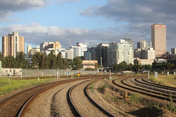 Approaching Adelaide on the South Suburban lines, the lines from Outer Harbor and Gawler are to the left