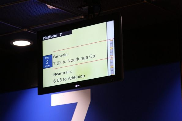 LCD next train displays beside the platform: train lengths and platform allocations are displayed