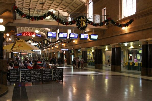 Main concourse at Adelaide station, the overhead walkway leads to the casino