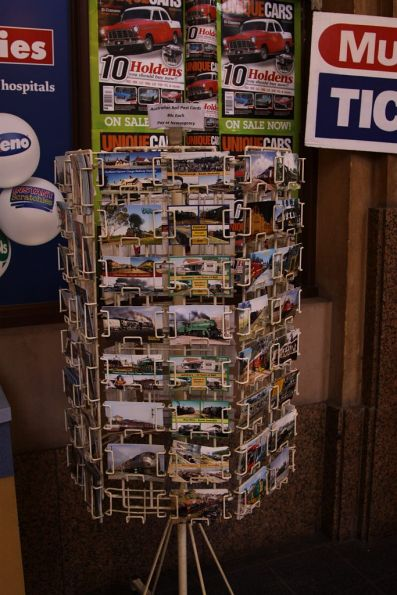Railway themed postcards for sale at the Adelaide station newsagent