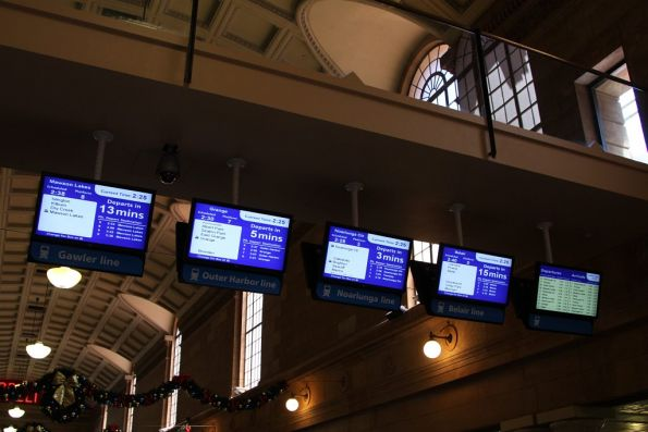 LCD next train displays on the Adelaide station concourse