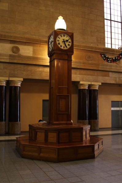 Timber clock on the Adelaide station concourse