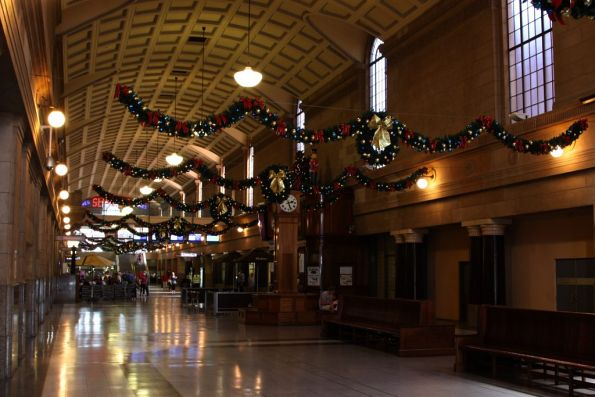 Adelaide station concourse decorated for Christmas