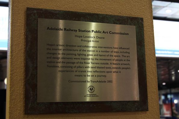 Plaque marking the 2002 Adelaide Railway Station Public Art Commission