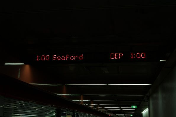 LED matrix next train displays on the Adelaide station platforms