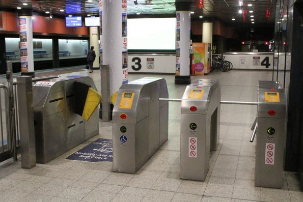 Second smaller bank of ticket gates outside the Adelaide Metro info centre