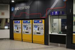 Ticket machines inside the paid area beside the Adelaide Metro info centre