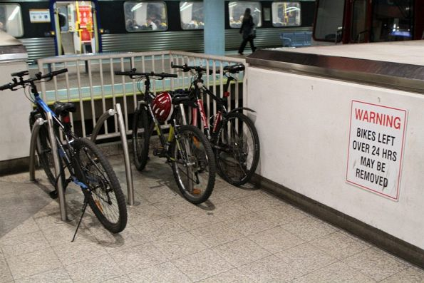 Bike rack on the concourse at Adelaide station