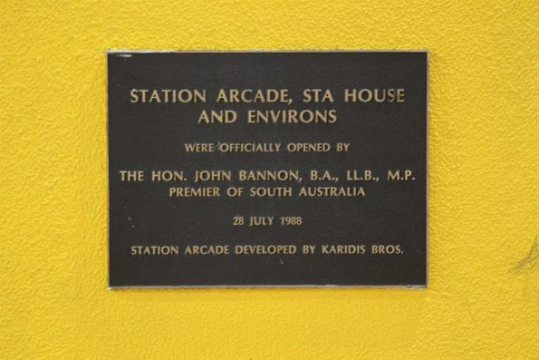 Plaque marking the opening of Station Arcade and STA House on 28 July 1988
