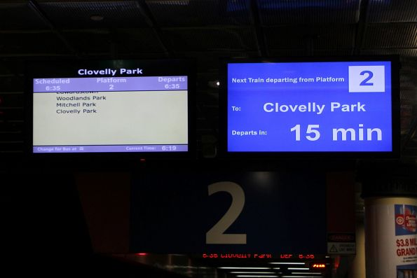 Clovelly Park service next to depart from platform 2