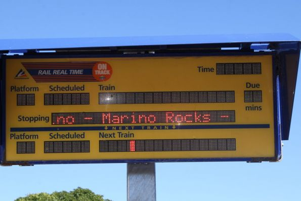 Rail Real Time display screen at Seacliff station