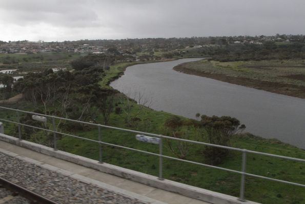 Looking east over the Onkaparinga River from the railway viaduct