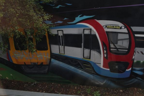 3000 and 4000 class trains featured in a mural on the Seaford line