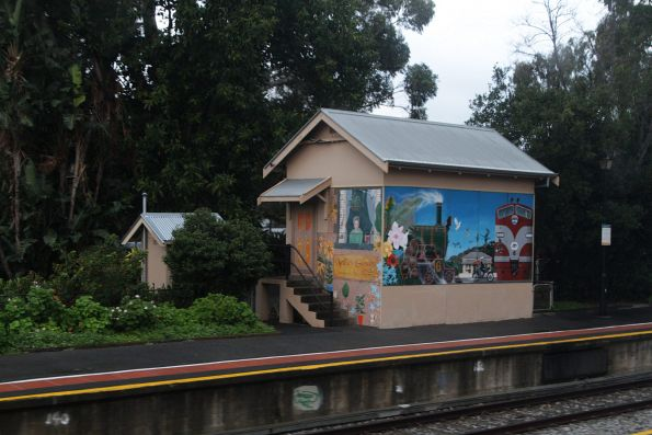 Mural on the signal box at Mitcham station