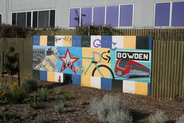 Murals at the ground level Bowden station