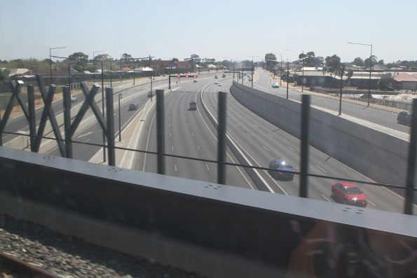 Outer Harbor line passes over the South Road Superway in Croydon
