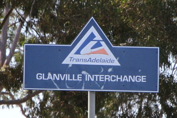 TransAdelaide branded 'Glanville Interchange' sign outside the station