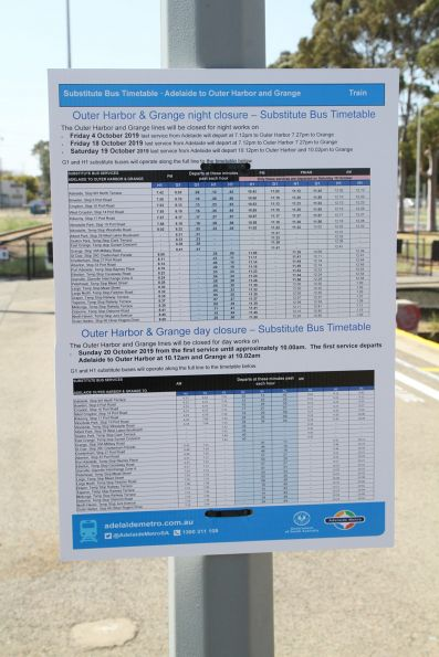 Substitute bus timetable at Glanville station
