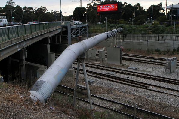 Water pipe crosses the rail corridor at the Keswick Bridge