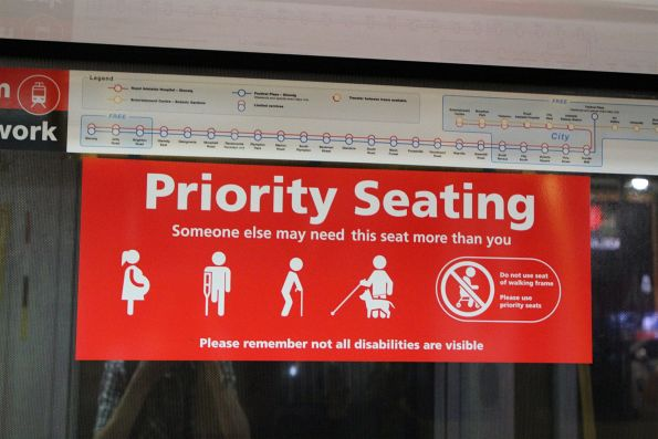 Priority seating signage onboard a Citadis tram
