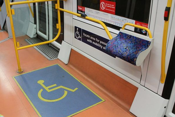 Wheelchair area onboard a Citadis tram