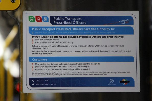 'Public Transport Prescribed Officers' notice onboard an Adelaide tram