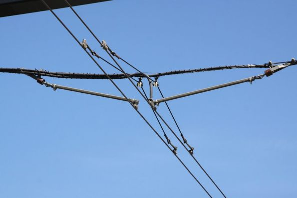 Details of the overhead wiring at the Entertainment Centre terminus
