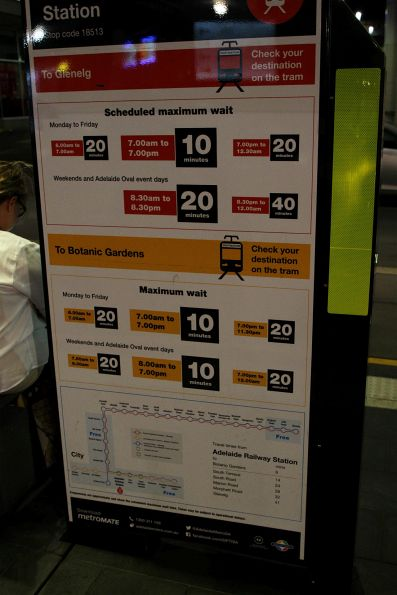 Tram stop poster giving overview of tram service headways on the two routes
