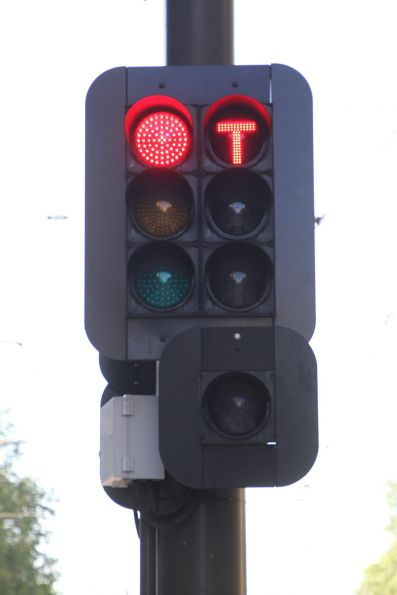 Additional left turn 'T' light for northbound trams at King William Street and North Terrace