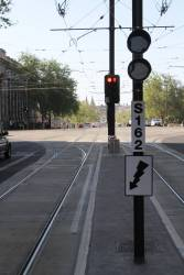 Point indicator for northbound trams at King William Street and North Terrace