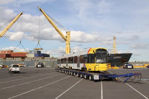 Flexity 113 at Melbourne's Appleton Dock, awaiting the trip west to Adelaide