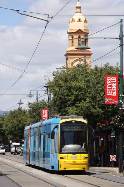 Flexity 106 runs down Jetty Road, Glenelg