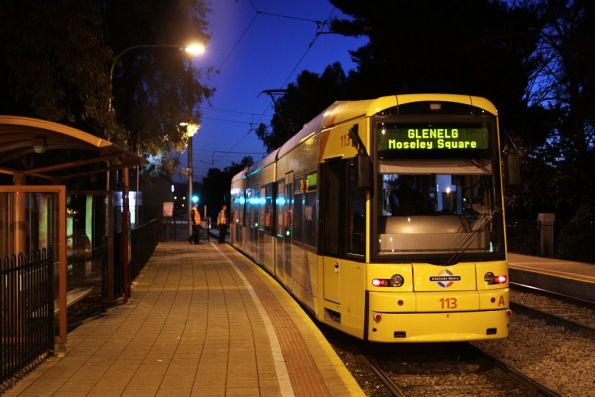 Flexity 113 picks up the conductor at the South Terrace stop for the trip to Glenelg