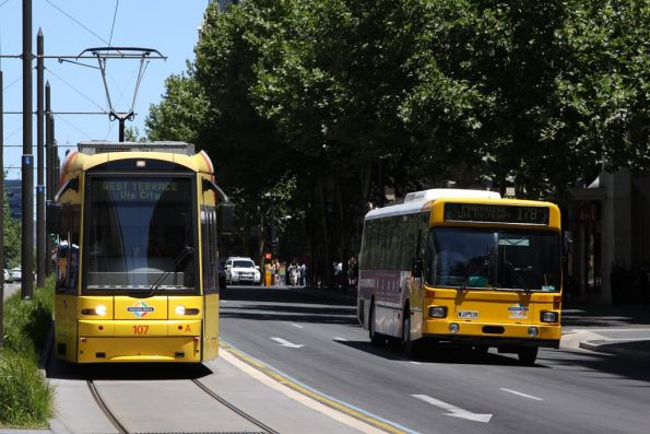 Northbound Flexity 107 parallels an AdelaideMetro bus on King William Street