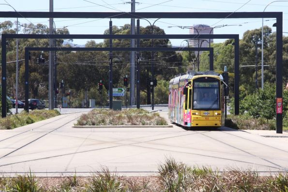 Flexity 103 arrives at the Entertainment Centre terminus